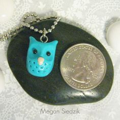 Turquoise Owl Necklace Polymer Clay Animal Handmade