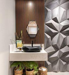 Lavabo lindo! Reparem que a cuba e o espelho acompanham as formas tridimensionais do revestimento da parede! Projeto by Amanda Yumi #decor #decoração #decoracao #decorating #decoration #decorate #homedecor #instadecor #architecture #arquitetura #homestyling #bathroom #revestimento #style #estilo #moderndesign #modernliving #architecture #archilovers #archidaily #designdeinteriores #interiordesign #interiors #interior #designdeinteriores #house #interiordecor #instagood #inspiração #inspi...