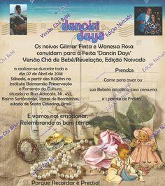 Convite Retrô Chá de Bebê/Noivado em Festa Dancin Days