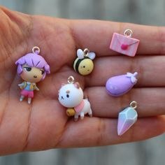 Bee and Puppycat charm set. Cute Polymer Clay, Cute Clay, Polymer Clay Charms, Polymer Clay Projects, Polymer Clay Creations, Diy Clay, Polymer Clay Jewelry, Cute Crafts, Diy And Crafts