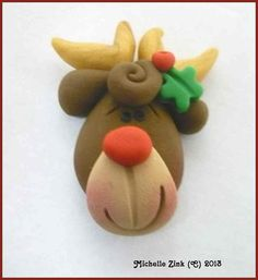 Polymer Clay Bow Center Reindeer Head por michellesclaybeads