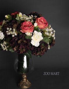 ZOO·MART 酒红色醉人组合花艺B 法式样美式新古典样板房卧室摆设