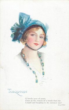 """""""Turquoise"""" ~ 1921 postcard by Marjorie Mostyn from the 'Jewel Girls' series"""
