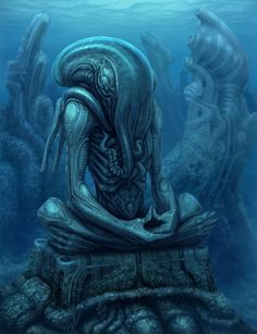 Xenocthulhu – Cthulhu in the style of H.R. Giger, by Ilya Suhoi