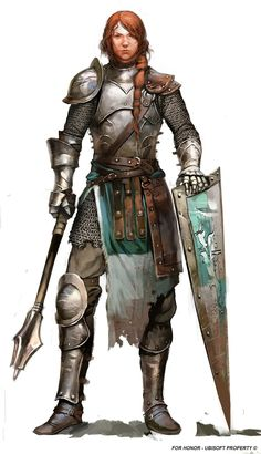 Female knight armed with mace and shield. Fantasy