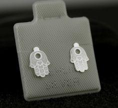 Sterling Silver Tinny Hamsa Hand Stud Earrings  by Alyssasdreams
