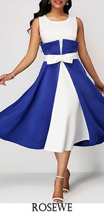 Color Block Bowknot Front Midi Dress.#Rosewe#mididress