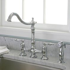 Charelstown Bridge-Style 2-Handle Chrome Kitchen Faucet - Overstock™ Shopping - Great Deals on Premier Kitchen Faucets