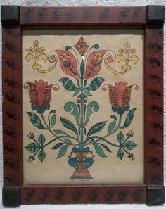 Pennsylvania Folk Art Heart & Tulip Fraktur by H.French