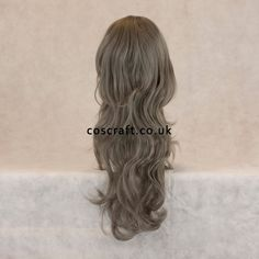 Long wavy curly cosplay wig with fringe in baby pale blue Charlie style