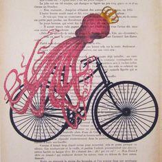 Octopus on bicycle ORIGINAL ARTWORK Hand Painted by Cocodeparis, $10.00