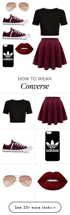 """How to style CONVERSE"" by cassiemcstones on Polyvore featuring Ted Baker, Converse, adidas, Lime Crime, H&M and converse #classyoutfits"