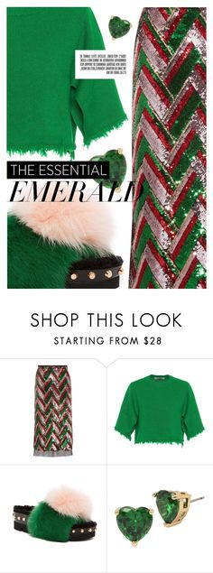 """Emerald City: Pops of Green"" by cultofsharon ❤ liked on Polyvore featuring Gucci, Valentino, Ivy Kirzhner and Betsey Johnson"