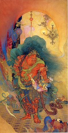 """狩野芳崖「仁王捉鬼」(1886)Hougai KANO """"Niou Sokki"""" (1886), Japan"""