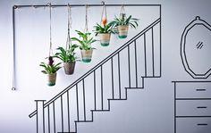 Coloca cinco cestos colgantes a lo largo de la escalera; es una forma original y bonita de tener flores y plantas en casa.