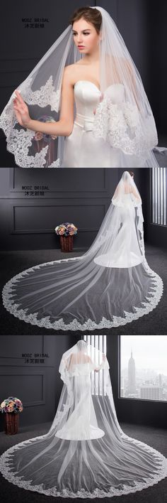 Wedding Veil 2017 New Real Images 3.5-Meter Length Two Layers 3 M Width Elegant Luxury Long Elegant Lace Bridal Veils with Comb