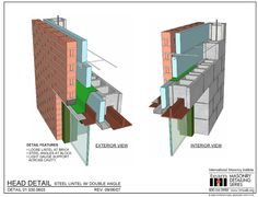 Head Detail - Steel Lintel W/ Double Angle Masonry Construction, Construction Drawings, Architecture Drawings, Architecture Details, Building Management, Steel Columns, Roof Trusses, Brick Facade, Brick Design