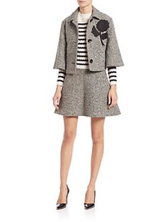 RED Valentino - Tweed Cropped Detailed Cape