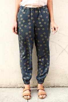 PLEASE NOTE: this pattern is a digital (PDF) sewing pattern. More info. Luna Pants are loose-fitting pants with a tapered leg for a flattering and comfortable