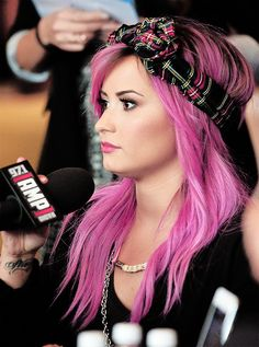 Pink purple pastel hair on Demi Lovato