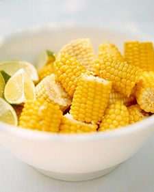 Fresh corn on the cob with melted butter