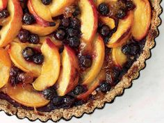 Peach and blueberry tart /w pecan crust