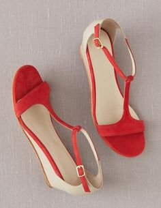Two toned Boden T-Bar Demi Wedges