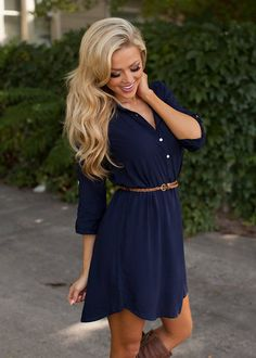 Online boutique. Best outfits. First-Class Dress Navy - Modern Vintage Boutique