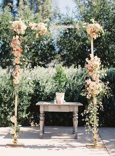 garden wedding ceremony - photo by Caroline Tran http://ruffledblog.com/a-sophisticated-wedding-at-maravilla-gardens #weddingceremony #ceremonies