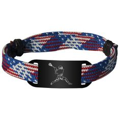 Lacrosse Shooting String Bracelet Guy Player Adjustable Shooter Bracelet - Patriotic