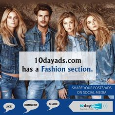10dayads.com has a Fashion section. #PostYourFashionAds #FreeFashionClassifiedOnline