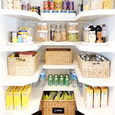 Best Kitchen and Pantry Organization Ideas You Will Love. Best Kitchen and Pantry Organization Ideas. Unlike the kitchen, the pantry is a special room that functions as a place to store cooking utensils, food. Pantry Organisation, Pantry Storage, Kitchen Organization, Kitchen Storage, Kitchen Decor, Pantry Ideas, Closet Pantry Shelving, Big Family Organization, Food Pantry Organizing