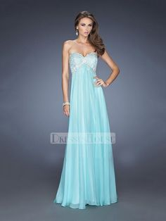 A-line Sweetheart Lace Appliques Empire Chiffon Prom Dress PD11713