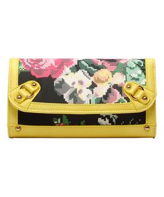 Yellow Floral Rose Faux Leather Clutch