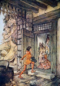 ✽ arthur rackham - 'taking the keys of the castle, jack unlocked...' - from 'jack the giant-killer' - 'english fairy tales' - 1918