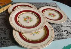 SET of 4 vintage c.1930s Wood's Ivory Ware Wood & by BuyfromGroovy