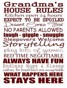 Grandma's House Rules - Free Printable by Stickelberry #gift #grandma