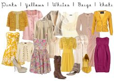 pinks, yellows, whites, beige