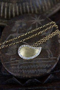 "Karen Liberman ""Paisley"" gold diamond necklace. Available at WHITEbIRDjewellery.com"