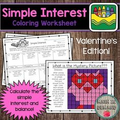Students will be solving 16 problems on calculating simple interest and balance. Students will then color in their answer to reveal a mystery picture. This is great practice for any class learning about simple interest. If their answer is not in the mystery picture, then they know that they need to ... Percent Of Change, Math Coloring Worksheets, Math Lessons, Higher Education, Middle School, Kindergarten, Mystery, Relationships, Students