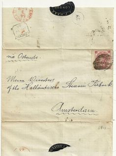 1865 RARE SG92 3d ROSE PL 4 LONDON TO AMSTERDAM WRAPPER A F HAAS OVAL WAFER SEAL   eBay