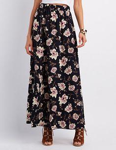 Floral Front Slit Maxi Skirt: Charlotte Russe