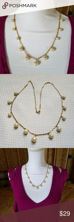 Chic GOLD Chain CREAM Faux Pearl Necklace A preppy and office appropriate statement necklace with pretty faux pearls spaced out on a gold tone chain. Wedding fancy formal bride bridal bridesmaid date night cocktail party Jewelry Necklaces