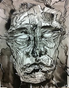 Haunted Head 3.  Ink and white posca pen on paper by Johnathan Martel