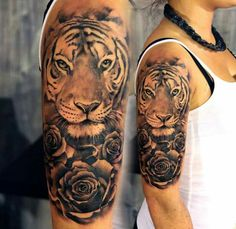 ▷ 1001 ultra cool tiger tattoo ideas for inspiration tatuagem tatuagem cascavel tatuagem de rosa tatuagem delicada tatuagem e piercing manaus tatuagem feminina tatuagem moto clube tatuagem no joelho tatuagem old school tatuagem piercing tattoo shop Tiger Tattoo Thigh, Tiger Tattoo Sleeve, Neck Tatto, Tattoo Arm, Tiger Head Tattoo, Mandala Tattoo, Compass Tattoo, Nature Tattoos, Body Art Tattoos