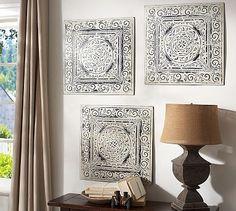 Vintage Tin Tiles, Set of 3 #potterybarn