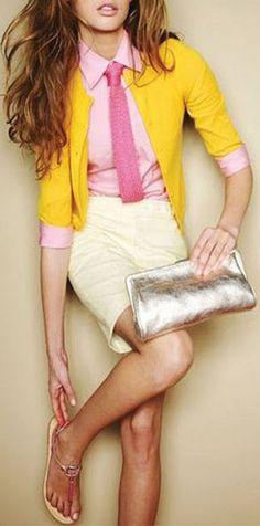 Pink + Yellow Cardigan <3 Super Cute Look! #jcrew