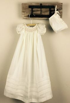 Christening Gown Cotton Baptism Gown Girls Baptism by SUMACLOTHING