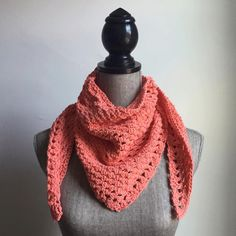 Crochet Cotton Handkerchief Scarf in Coral by OnlyMeesh on Etsy https://www.etsy.com/listing/231810504/crochet-cotton-handkerchief-scarf-in