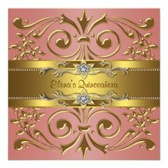 Elegant Coral and Gold Quinceanera Announcements